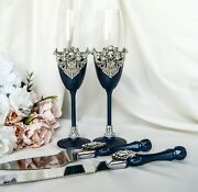 Navy Wedding Toasting Flutes And Cake Knife And Server Set Champagne Glasses