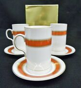 Vintage New 14 Pc. Fitz And Floyd Red Gold Band Irish Coffee Cups Saucers Mint