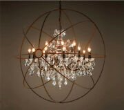 Foucaultand039s Orb Clear K9 Crystal Chandelier Rustic Iron Round Ceiling Lamp Light