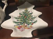 Lefton China Handpainted Christmas Tree Teapot And Matching Candy Dish