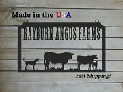 Farm Sign With Cattle, Dairy/angus Farm Sign, Large Entrance/gate Sign, S1329