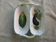 Hand Painted Vegetable Italian Majolica Pottery Divided Serving Bowls W Handles