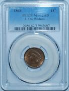 1864 Pcgs Ms62rb Red Brown Fs-2306 S-10 With L Indian Cent Rpd Repunched Date
