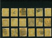 Vf Orange Plus Various Cancels On 1 Cent Small Queen Lot Canada