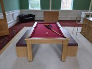 Superpool New Traditional Dining Pool Table Set With Benches And Stand