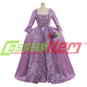 18th Century Marie Antoinette Colonial Gown Purple Dress Costume Sack Back Dress