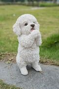 New Maltese Puppy Playing Dog Cute Figurine Adorable - Life Like Home / Garden