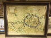 Plan Of The City Of Doway, Original City Map Hand Coloured. By I Basire
