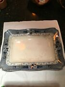 Antique Ford And Sons Weir Burslem England Flow Blue Serving Platter 15andrdquo X 11.5andrdquo