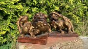 A Fantastic Vintage Pair Of Chinese Oriental Dogs Dragon Figurines Bookends
