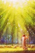 Yongsung Kim The Light Of His Love Canvas Art Print Jesus With Doves And Sheep