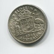 1944 Sterling Silver Florin - Two Shillings Coin Australia A-35