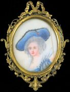 Antique Painted Miniature Exquisite Painting Victorian Woman Queen Signed