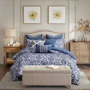 Luxury Blue And Ivory Cotton Jacquard Damask Comforter Set And Decorative Pillows