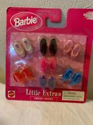 Barbie Little Extras Dressy Shoes Seven Pack Mint New On Card Dated 1998