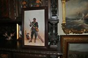Great Franco Prussian War Soldier Cleaning His Weapon  Oil Painting