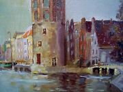 Knikker Signed Amsterdam Canal Dutch Oil Painting C1920 Water City Scape Estate