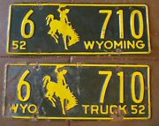 Wyoming 1952 Truck And Car Same Number Carbon County License Plates 6 710