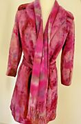 Winter 4 6 8 Wool Cashmere Pea Trench Coat Pink Purple Blue Navy Red Tie Dyed