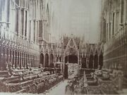 Antique 1870-80and039s Albumen Photograph Inside Westminister Abbey Church Pews