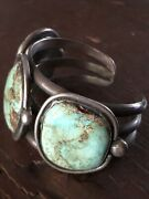 Heavy Vintage Navajo 1920's-30's Old Pawn Sterling And Turquoise Cuff Bracelet