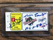 1988 Dodgers World Series Game 1 Ticket Kirk Gibson And Tommy Autographed