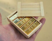 1/6 Scale Miniature Gold Bullion Bars 10 Pcs And Wooden Crate