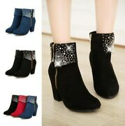 Womens Shoes Rhinestone Side Zip Block Faux Suede Ankle Boot High Heel Round Toe