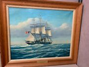 Oil Painting Signed By Phillips Melville 1957 Uss Princeton Boat Ship Maritime