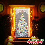Lace Christmas Curtain Home Party Decor Led Light Up Window Door Cloth Xmas Us