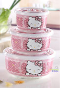 New 3pcs Smile Hello Kitty Ceramic Food Rice Bowl Storage Containers Set W/lids