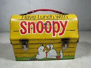 Vintage 1968 Thermos Brand Peanuts Snoopy Doghouse Metal Lunchbox