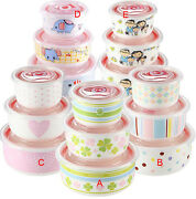 New 3pcs Cute Nice Ceramic Clear Food Fruit Bowl Storage Containers Set W/lids