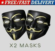 X2 Adult Anonymous Hacker Mask V For Vendetta Guy Fawkes Fancy Face Mask Cosplay