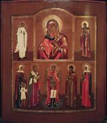 Antique 1860s Hand Painted Russian Icon Of St.mihail And Guardian Angel Andsaints