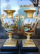 Pair Of Antique 19c French Empire Hand Painted Porcelain Urns With Base