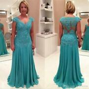 Mother Of The Bride Dresses V- Neck Blue Chiffon Long Evening Gown With Applique