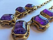 Vintage Goldtone Mottled Thick Heavy Purple Glass Cabachon Chain Choker Necklace