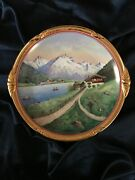 Fab Vtg Dresden Hand Painted Signed By A.koberez Cabinet Plate Gold Edges 11.2d