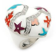 Alan K. Designo White Heart Large Ring With Cz And Multi Color Flower Accents. New