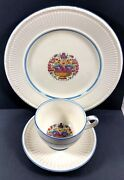 Wedgwood Barlaston Ofetruria Whitstable Set Of 3 Dinner Plate Tea Cup And Saucer