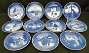 11 Royal Copenhagen Blue And White Annual Christmas Plates 1967 - 1982 Mint 24