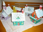 Lot 5 Vgte Carboard Houses For Christmas Village-hand Made-signed 2986