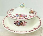 Masonandrsquos Fruit Basket Butter Dish With Lid Multi Color Stunning Great Shape