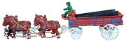 Antique Cast Iron Horse Blue Red Beer Wagon Toy Driver And Coffee Potato Sacks