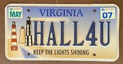 Virginia 2007 Vanity License Plate Hall For You