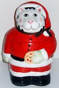 Christmas Cat Santa Cookie Jar By Cic Black And White Kliban Style Cat With Cookie