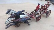 Early Ives Cast Iron 3 Horse Drawn Fire Water Pumper Original Vintage Large Toy