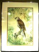 Vintage 1980and039s Original Watercolor Painting Of An Eagle Signed By Shaw-mei Shen