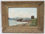 Andrew Hislop Antique 12x18 British Seascape Painting Beach Ornate Gold Frame